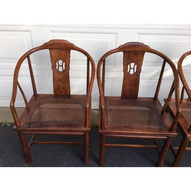 Henredon Asian Elm Caned Chairs - Set of 4 For Sale - Image 5 of 10