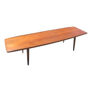 1960s Mid Century Modern Teak Surfboard Coffee Table For Sale