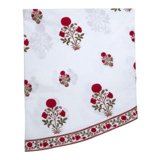 Amaya Red Round Tablecloth, 120-Inch For Sale