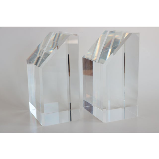 Faceted Lucite Bookends - A Pair - Image 3 of 10