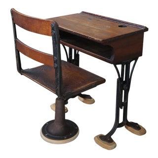 Antique Pine Chandler Boston Adjustable Childs School Desk & Chair - 2 Pieces For Sale