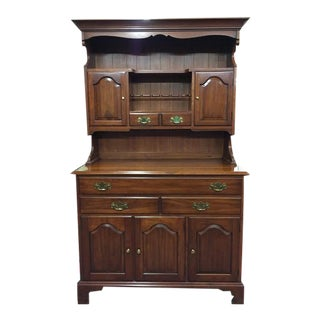 1960's Vintage Henkel Harris Cherry Farm Country Hutch Cabinet For Sale