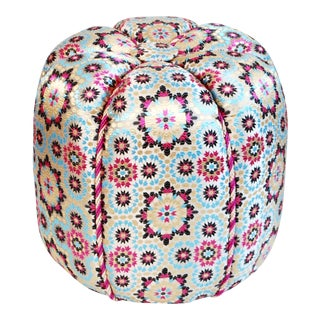 Moroccan Pink Zellig Fabric Pouf For Sale