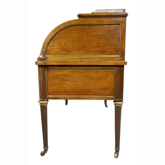 Directoire Style Mahogany and Brass Mounted Cylinder Desk For Sale - Image 11 of 13