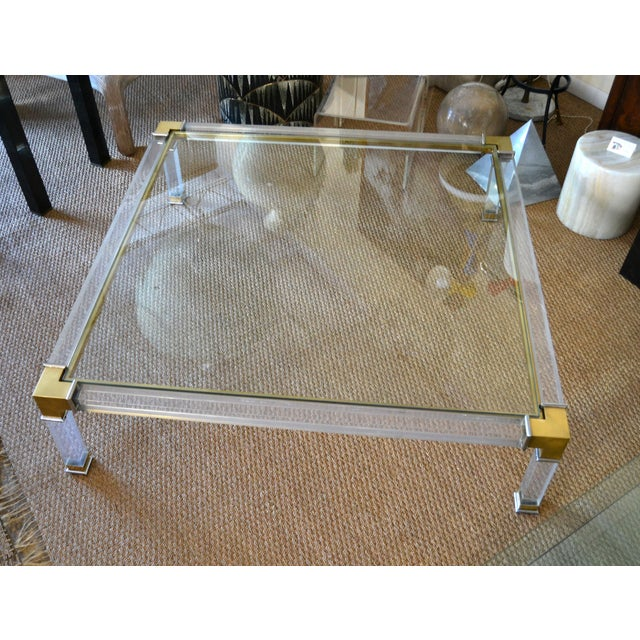 Early Charles Hollis Jones Hollywood Regency Acrylic Bronze & Chrome Glass Table For Sale - Image 12 of 13