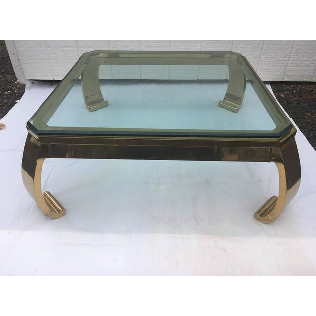 1970's Asian Inspired Brass & Glass Coffee Table by Mastercraft For Sale - Image 11 of 12