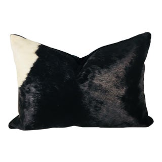 Vintage Natural Cowhide Black and White Pillow For Sale