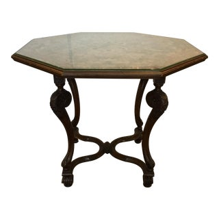 Late 19th Century Antique Traditional Octagonal Tapestry Center Table For Sale