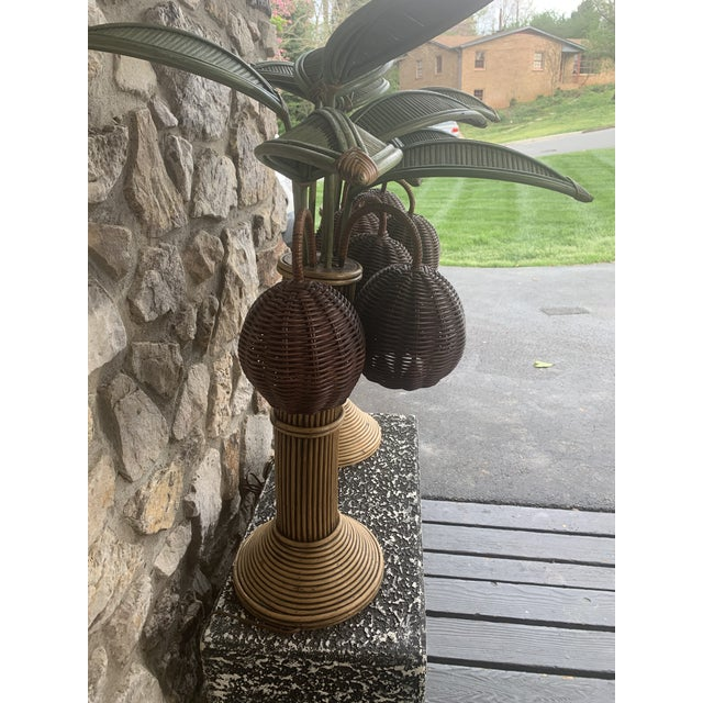 1960s 1960s Mario Lopez Palm Tree Table Lamps With Coconuts - a Pair For Sale - Image 5 of 6