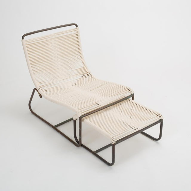 1960s Pair of Walter Lamb Sleigh Chairs With Single Ottoman For Sale - Image 5 of 12