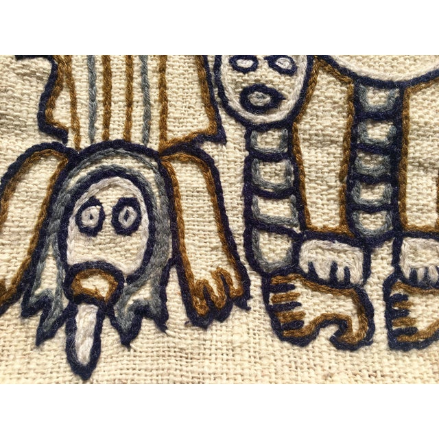 Canvas 1960s Peruvian Indigenous Craft Hand Stitched Pillow Covers - a Pair For Sale - Image 7 of 13