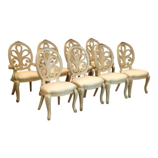 Henredon Painted Rococo Style Dining Chairs - Set of 8