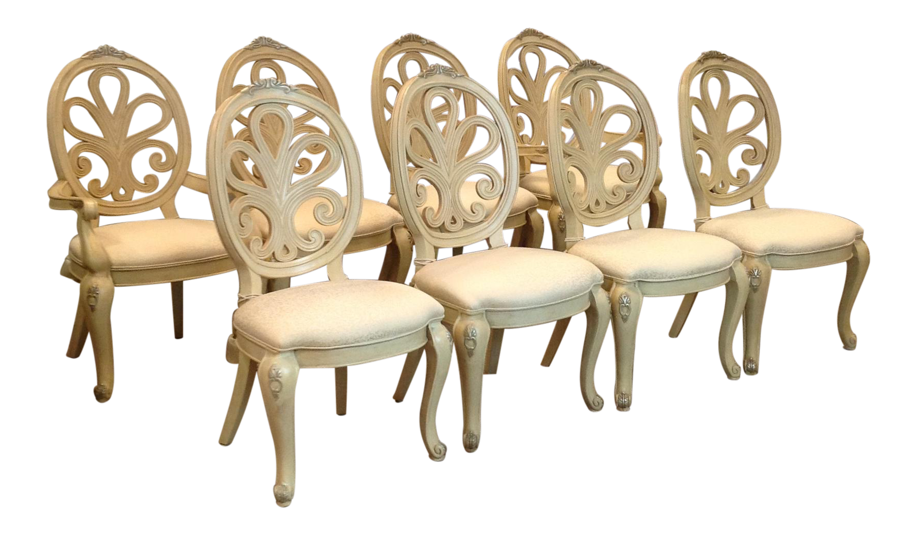 Henredon Painted Rococo Style Dining Chairs   Set Of 8