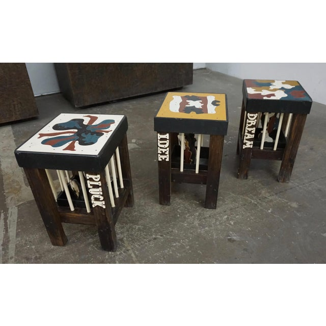 Abstract Art Stools by Thorsten Passfeld- Set of 6 For Sale - Image 3 of 9