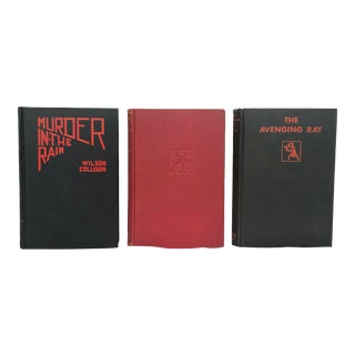 Vintage Black & Red Mystery Book Set for Decor - Set of 3 For Sale