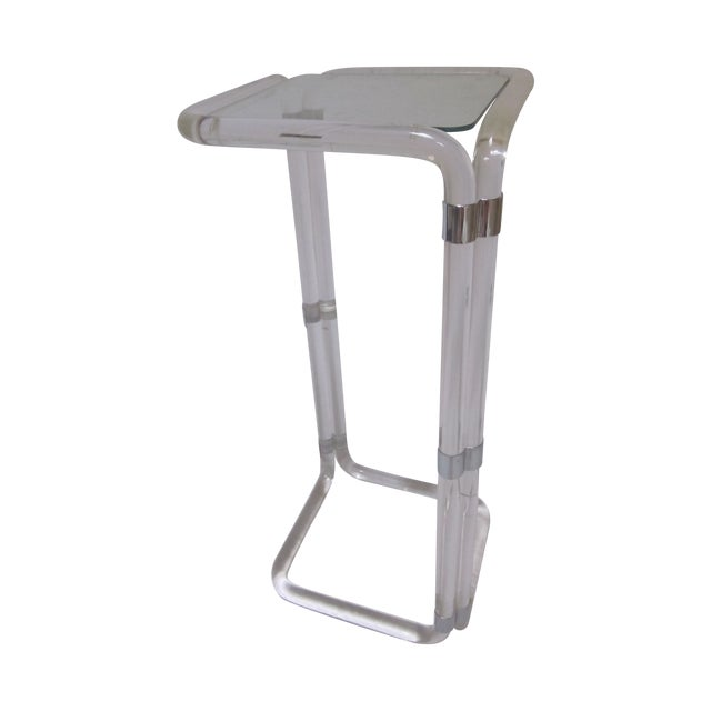 Thick Banded Lucite Pedestal Stand Table - Image 1 of 11