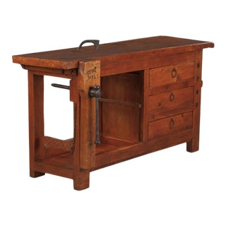 1950s French Carpenter's Workbench in Elm For Sale