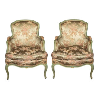 Louis XV Style Silk Bergère Chairs - A Pair For Sale
