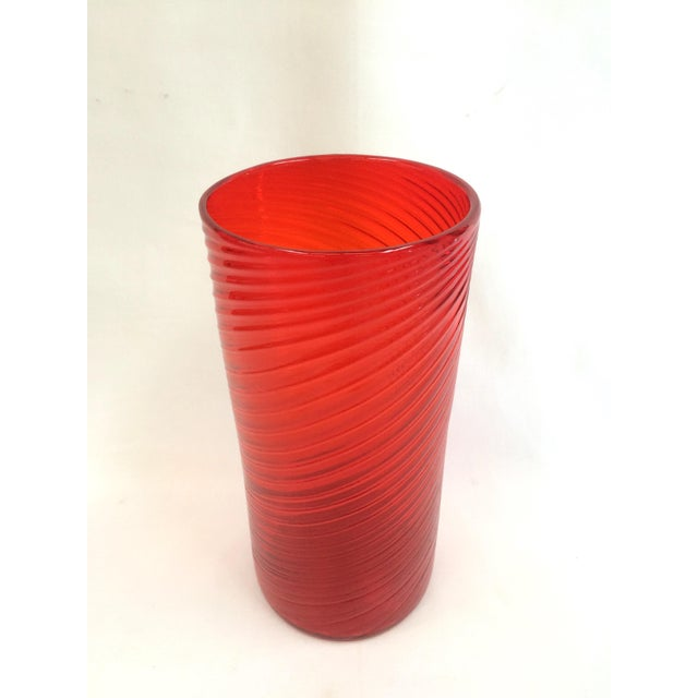 Tall Red Orange Hand Blown Glass Vase - Image 3 of 5