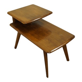 """Heywood Wakefield Mid Century Modern 29x17"""" Accent Step End Table - Champagne Finish For Sale"""