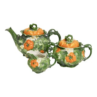 Vienna Porcelain Persimmon Tea Set, 5pcs For Sale