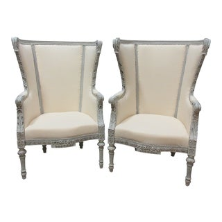Gustavian Style Bergere Chairs - a Pair For Sale