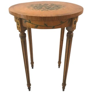 1950s English Traditional Satinwood Hand Painted Side Occasional Table For Sale