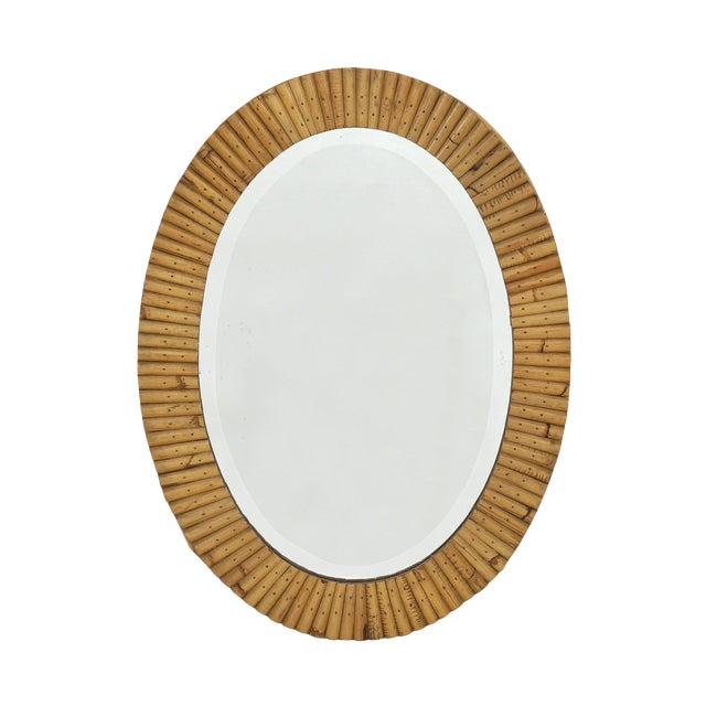 French Mid-Century Pieced Oval Bamboo Mirror For Sale