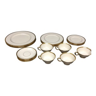 Lenox Tuxedo China Place Settings for Four Plus Extra Cup and Saucer - 22 Pieces For Sale
