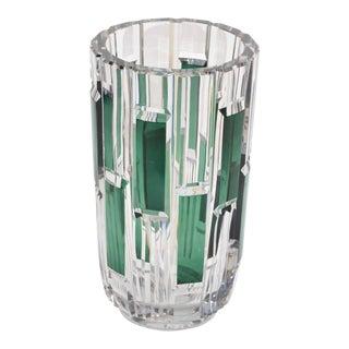 Val Saint Lambert Cut Crystal Vase Charles Graffart Clear & Green Belgium 50s For Sale