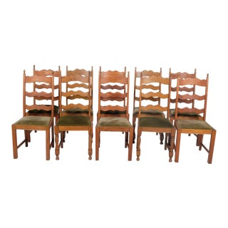 Ladder Back Dining Chairs With Green Velvet Upholstery - Set of 10 For Sale