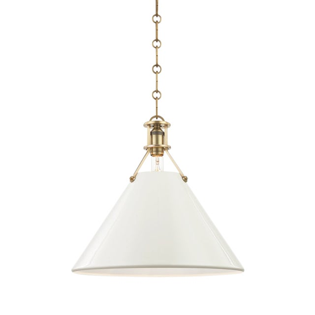 Painted No.2 1 Light Large Pendant - AGB/OW For Sale