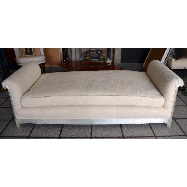 Art Deco Modern Silver Leafed Daybed For Sale - Image 4 of 7