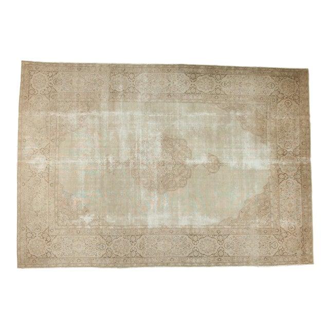 """Vintage Distressed Tabriz Carpet - 9' X 12'9"""" For Sale"""