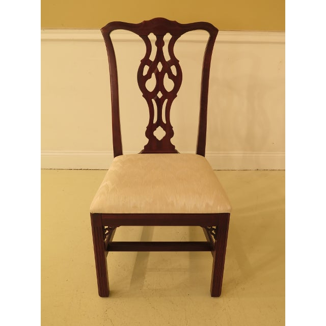 1990s Ethan Allen Knob Creek Chippendale Cherry Dining Room Chairs