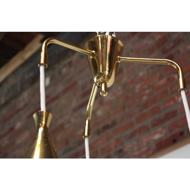 Mid-Century Three Pendant Solid Brass Chandelier after Paavo Tynell - Image 9 of 11