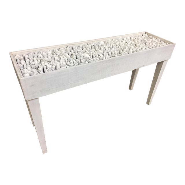 Distressed White Driftwood Console Table For Sale