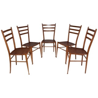 French Vintage Cane Dining Chairs, Set of Five, 1930s For Sale