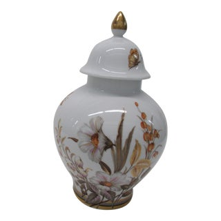 White Ginger Jar and Lid With Floral Decoration and Gilt Accents For Sale