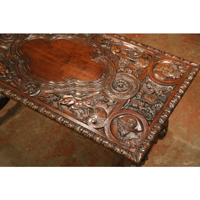 Mid 19th Century 19th Century Spanish Carved Walnut and Wrought Iron Console Center Table For Sale - Image 5 of 13