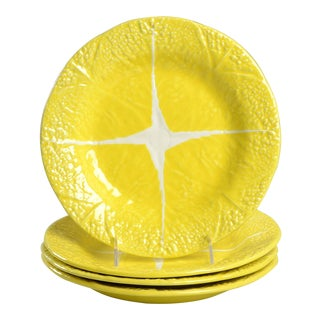 Secla Cabbage Yellow Luncheon Plates - Set of 4 For Sale