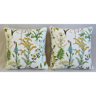 "Wildflower Botanical Cotton & Linen Feather/Down Pillows 24"" Square - Pair Preview"