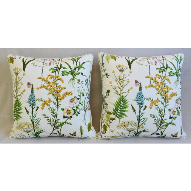 Pair of custom-tailored pillows in vintage cotton fabric with a wildflower pattern. Vintage neutral 100% Belgian linen...