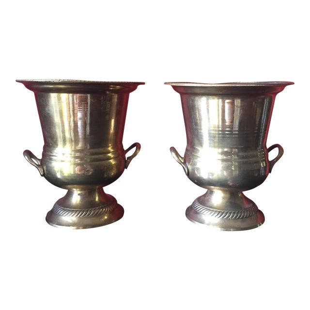 Petite Brass Champagne Buckets - A Pair - Image 1 of 6