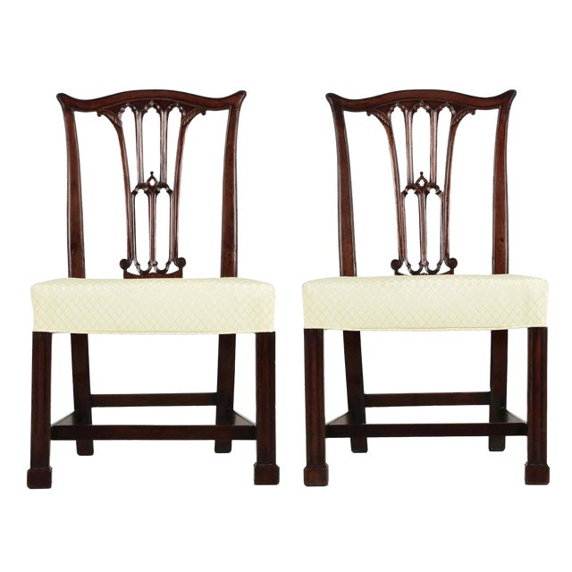 18th Century Chippendale Period Mahogany Side Chairs - a Pair - Image 1 of 10