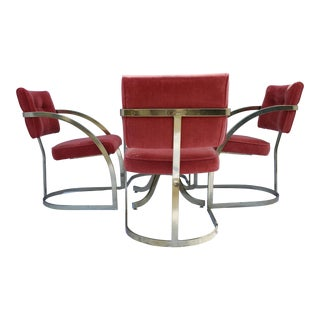 Intage Mid Century Modern Milo Baughman Style Dining Table & Chairs For Sale