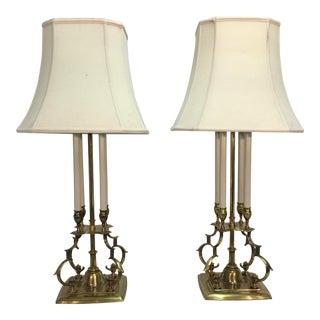 T. Parzinger for Stiffel Brass Lamps - A Pair