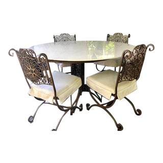 Wrought Iron Outdoor Dining Set-Set of 6 For Sale