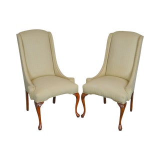 Traditional Pair of Queen Anne Upholstered Host Chairs Frames For Sale