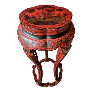 Early 20th Century Chinese Cinnabar Red Lacquered Plant Stand For Sale